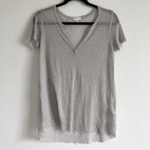 Silence & Noise Gray V Neck Distressed Top | S